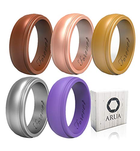 Arua Silicone Wedding Ring for Women 5-Pack   5 Metallic Womens Wedding Bands   Gift Box Included   Comfortable Rubber Rings for Women   Bronze, Gold, Rose, Silver, Purple For Sale