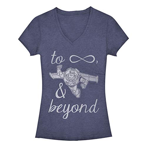 (Fifth Sun Junior's Toy Story Buzz Lightyear to Infinity and Beyond V-Neck Tee, Navy Heather, Large)