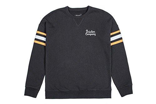 Brixton Men's Barton Standard Fit Crew Fleece Sweatshirt, Black, (Fleece Screen Print Sweatshirt)