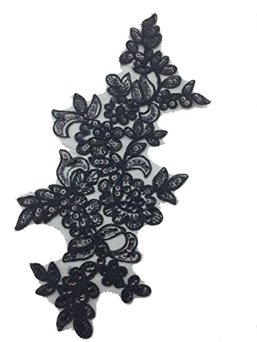1 Pair Sequin Embroidered Lace Appliques Embroidery Patches For Dress Sewing Shoes Decor Supply L 10-1/2