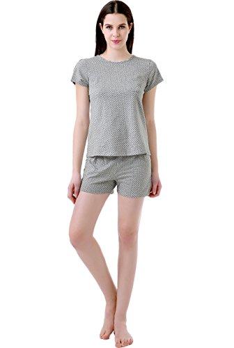 Luxury Lane Bold Seam Polka Dot Shirt and Short 2-Piece Set - Gray M