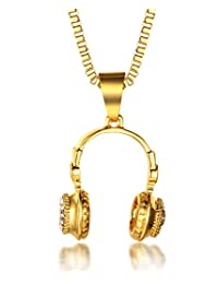 """Halukakah """"JUST AN EARPHONE""""18k Real Gold Plated Dj Headphone Pendant Necklace with FREE Box Chain 30"""""""