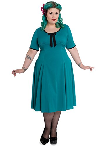 Hell-Bunny-Plus-Size-40s-Vintage-Style-Teal-Green-First-Date-Little-Tea-Dress