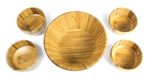 Set Bamboo Bowl - NEW - Sage Wood Salad Bowl Set - 5 Piece Bamboo Serving Set
