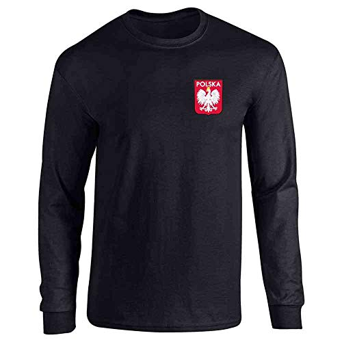(Poland Soccer Retro National Team Sport Football Black L Long Sleeve T-Shirt)