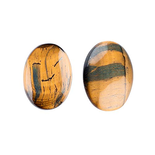Jaguar Gems Natural Tiger Eye Cabochon Gemstone and Crystals, DIY Jewelry Making Supplies, Tiger Eye Oval Shape Gems
