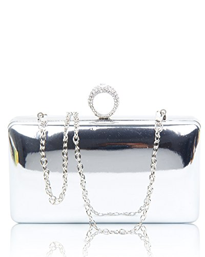 Crystals Sparkling Bag Party 19 Bag Wedding Diamante Silver Evening Prom Women's Foxlady Silver Shiny Clutch BXw88Eq
