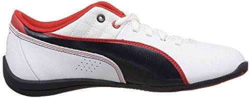 Puma Drift Cat 6 L Bmw - Zapatillas de piel lisa para niña Blanco - Blanc (White/Bmw Team Blue/High Risk Red)