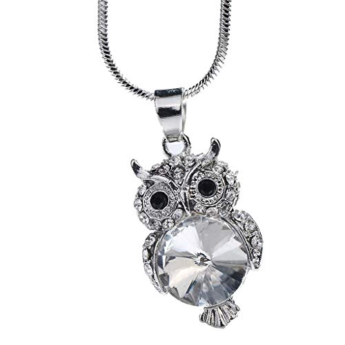 (Nihewoo Women Pendant Necklace Crystal Necklace Vintage Cabochon Necklace Animal Owl Pendant Necklace Jewelry Gift (Silver))