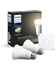Philips Hue White E27 Starter Set van 2 stuks, dimbaar, warm wit licht, bestuurbaar via app, compatibel met Amazon Alexa (Echo, Echo Dot)