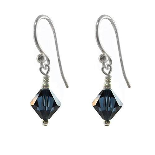 Earrings Made with Swarovski Crystal Elements Montana Blue Colored. Sterling Silver