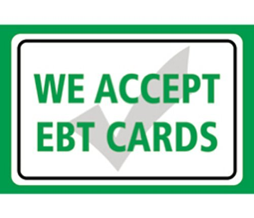 Price comparison product image Home Decor Signs We Accept EBT Cards (Food Stamps) Print Green Horizontal Store Window Business Cashier Large Metal Wall Decor Art Aluminum Tin Sign Gift
