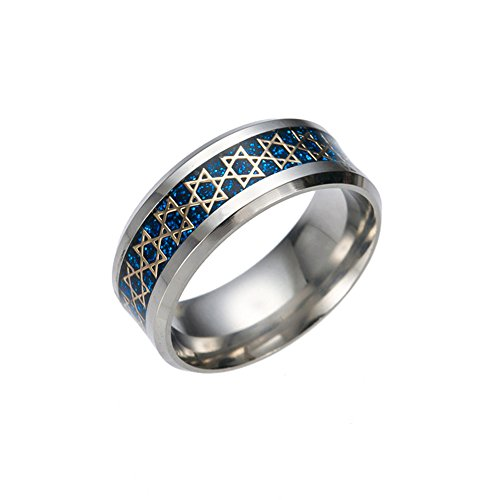 JAJAFOOK 8mm Men's Women Stainless Steel Ring Jewish Star of David Ring Size: 6-13