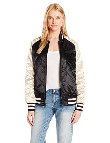 (Members Only Women's Floral Blossom Souvineer Varsity Jacket, Black/Champagne, S)