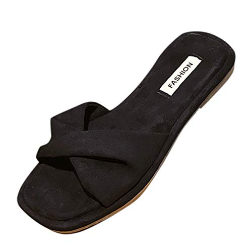 Pengy Woman Bow Flats Shoes Summer Beach Slipper Open Toe Ankle Breathable Lady Casual Sandals Black ()