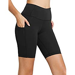 "Baleaf Women's 8"" High Waist Tummy Control Workout Yoga Shorts Side Pockets Black Size M"