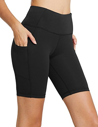 Baleaf Women's 8″ High Waist Tummy Control Workout Yoga Shorts Side Pockets Black Size S