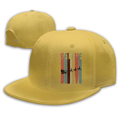 - Aiguan Christmas Vintage Skyline Santa Flat Visor Baseball Cap, Fashion Snapback Hat Yellow