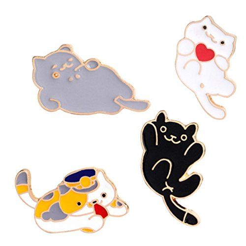 Winzik Novelty Brooch Pin Set 4pcs Cute Cartoon Cat Kitten Pattern Enamel-liked Lapel Pins Set Badges Ornaments for Women Girls Clothes Bags Backpacks Decor