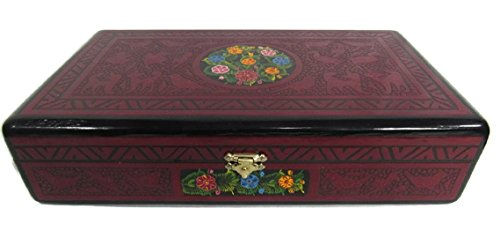 El Relicario de Los Tesoros Olinala Extra Large Hand Painted Carved Incised Rectangular Lacquerware Wooden Cigar Jewelry Trinket Stash Box Hand Crafted in Guerrero, Mexico (Dark Red Forest)
