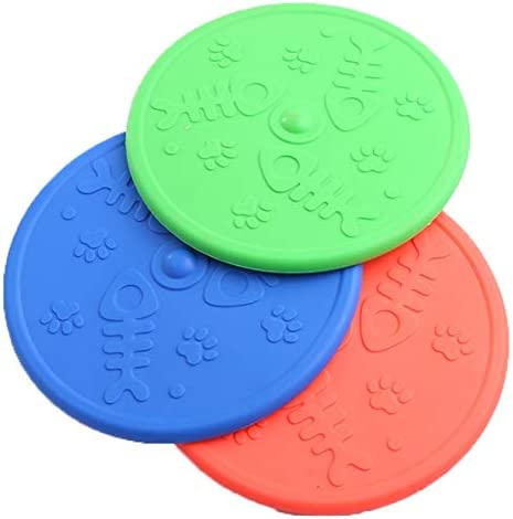 Durable Rubber Dog Frisbee Natural Silica Gel Material Flying Discs for Pet Training Interactive (Set of 3 Random Color)