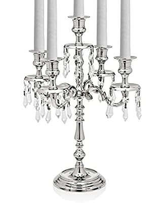 "Godinger Silver Art Tradition 22""h Nickel Plated 5 Light Candelabra Centerpiece With Hanging Crystal Drops"