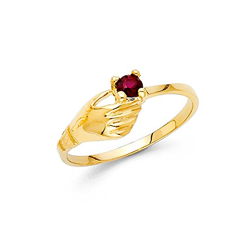 Solid 14k Yellow Gold Fashion Ring Red CZ Single Stone Band Holding Hand Design Stylish Fancy, Size ()