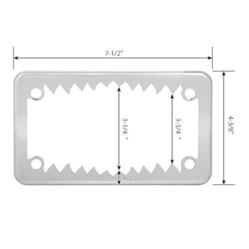 Grand General 60392 Chrome Shark Teeth Motorcycle License Plate Frame by Grand General (Image #3)