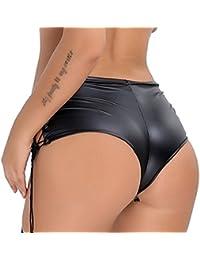 Women's Patent Leather Lace Up Hot Pants Clubwear Dance Mini Shorts