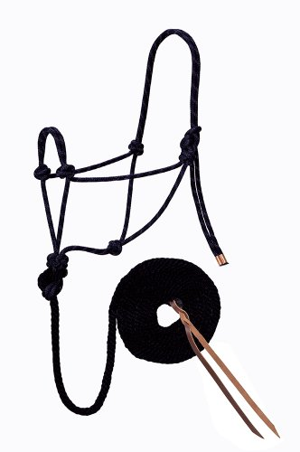 Double Diamond Halter (Weaver Leather Diamond Braid Rope Halter and Lead, Black)