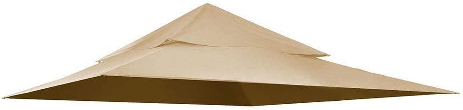 Yescom 12.8'x10.7' Canopy Top Replacement Beige for 2-Tier Sunjoy L-GZ339PAL Gazebo Cover
