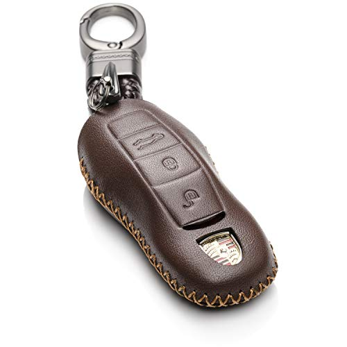 Vitodeco Genuine Leather Keyless Entry Remote Control Smart Key Case Cover with Leather Key Chain for Porsche Panamera, Macan, Cayenne, 911 (3 Buttons, Brown)