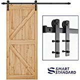 """SMARTSTANDARD 6.6ft Heavy Duty Sturdy Sliding Barn Door Hardware Kit -Smoothly and Quietly -Easy to install -Includes Step-By-Step Installation Instruction Fit 36""""-40"""" Wide Door Panel (I Shape Hanger)"""