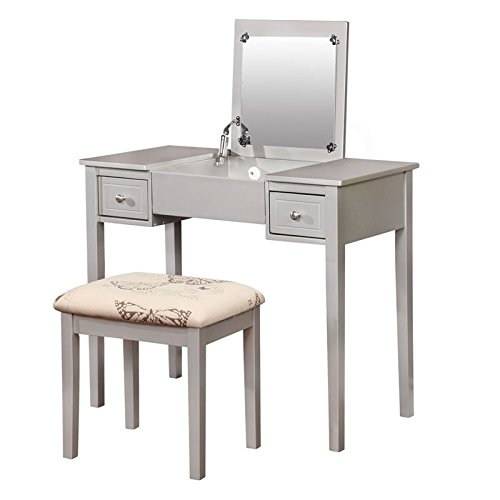 Linon Butterfly 2 Piece Bedroom Vanity Set In Silver