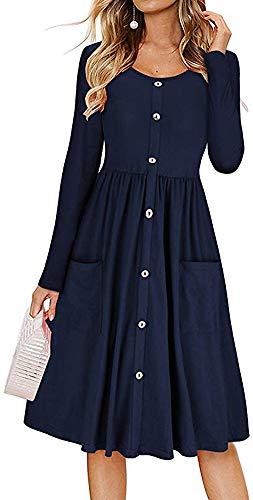 LunaJany Women's Cotton Blend Long Sleeve Front Pocket Button Trimmed Swing Dress
