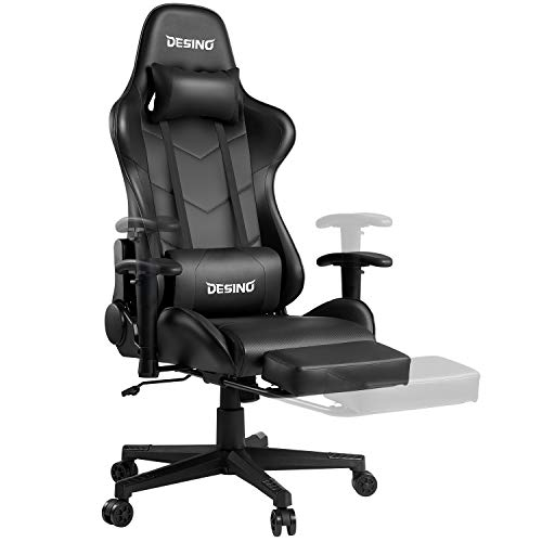 Desino Gaming Chair Ergonomics Swivel Adjustable Office Racing Chair Hight-Back Computer Chair with Footrest and Adjustable Armrests, PU Leather, Headrest Lumbar Support Rocker Tilt Chair