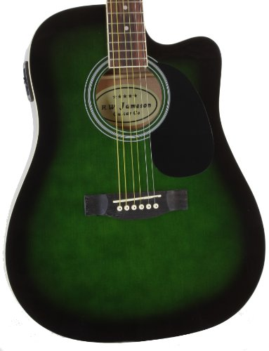 Jameson Guitars Full Size Thinline Acoustic Electric Guitar with Free Gig Bag Case & Picks Geen Right Handed ()
