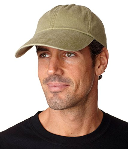 (KEKLLE Adams Sunbuster Pigment Dyed Twill Cap With Extra Long Visor (Khaki) (ALL))