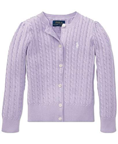 Polo Ralph Lauren Little Girls Cable-Knit Cardigan (French Lilac, - Girls Cardigan Lauren Sweater Ralph