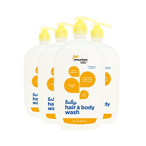 Mountain Falls Hypoallergenic Tear-Free Baby Hair and Body Wash, Compare to Johnson's, 28 Fluid Ounce (Pack of 4)