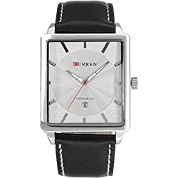 ufengke fashion rectangle dial calendar waterproof quartz watch for men/boys/students-white