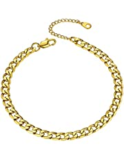 "GoldChic Adjustbale Link Chain Anklet for Women Girls, 316L Stainless Steel Figaro/Wheat/Twist Rope/Cuban Foot Bracelet-Waterproof, Resizable 9""-12"" (Gift Box Included)"