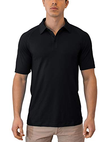 Woolx Men's Summit Lightweight Breathable Merino Wool Short Sleeve Polo Shirt, Black, Large ()