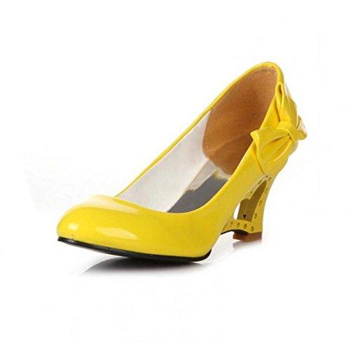 XIE Zapatos de Corte con Hueco de Gran Tamaño Wedge Heel Solo Zapatos Primavera y Otoño Arco de Color Caramelo de Cuero Liso, White, 37 YELLOW-39
