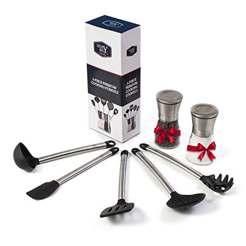 Cooking Utensils Set + Salt & Pepper Grinder – 5 Piece Silicone and Stainless Steel Kitchen Tools – Non Stick Spatula , Flex Spatula, Strainer, Ladle, Pasta Server , FREE - Server Pepper