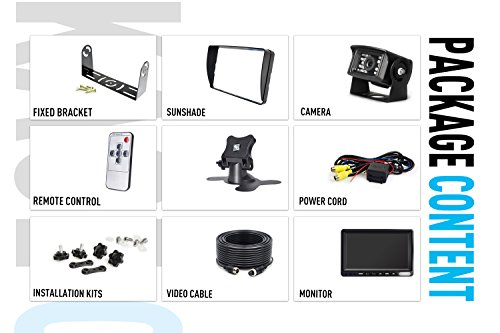 Backup Camera System Kit,SHARP CCD Chip, 100% Not Wash Up,IP69 Waterproof Rear View Camera + 7'' LCD Reversing Monitor For Truck/Semi-Trailer/Box Truck/RV (ERY01) (ERY01) by ZEROXCLUB (Image #6)