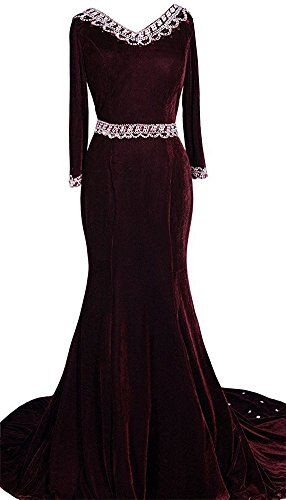 with Women's Burgundy Evening Mermaid Beaded Rhinestones Sleeves DreHouse Prom Dresses Velvet 7xw8n8dP