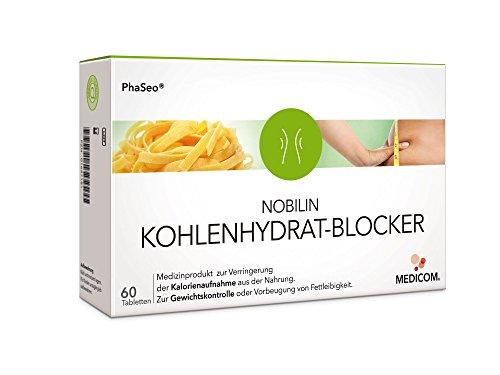 NOBILIN KOHLENHYDRATBLOCKER - 60 Tabletten Carb-Blocker, Appetitzügler zum Gewichtsverlust, Diät Kapseln zum Abnehmen