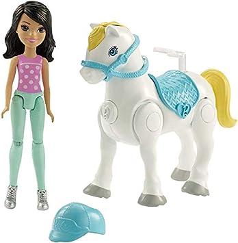 Mattel FHV64 Barbie Bambola On the Go con pony bianco, modelli