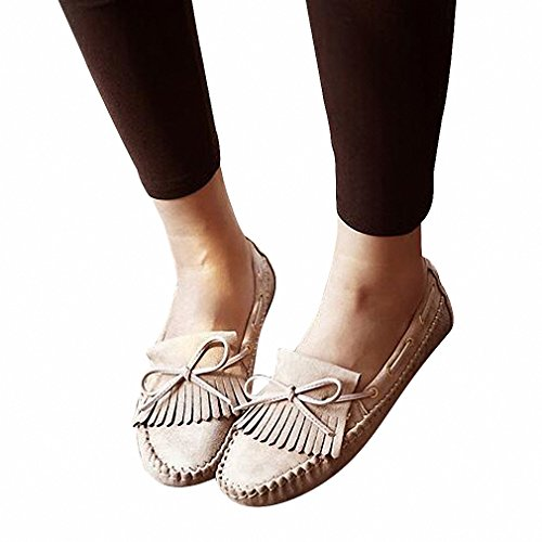 Women's Round Toe Flat Loafers Sweet Casual Shoes with Bow Beige - 3